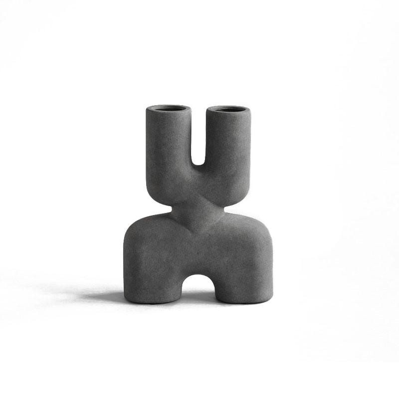 Vase céramique COBRA mini double Dark grey - 22x6,5xH28cm