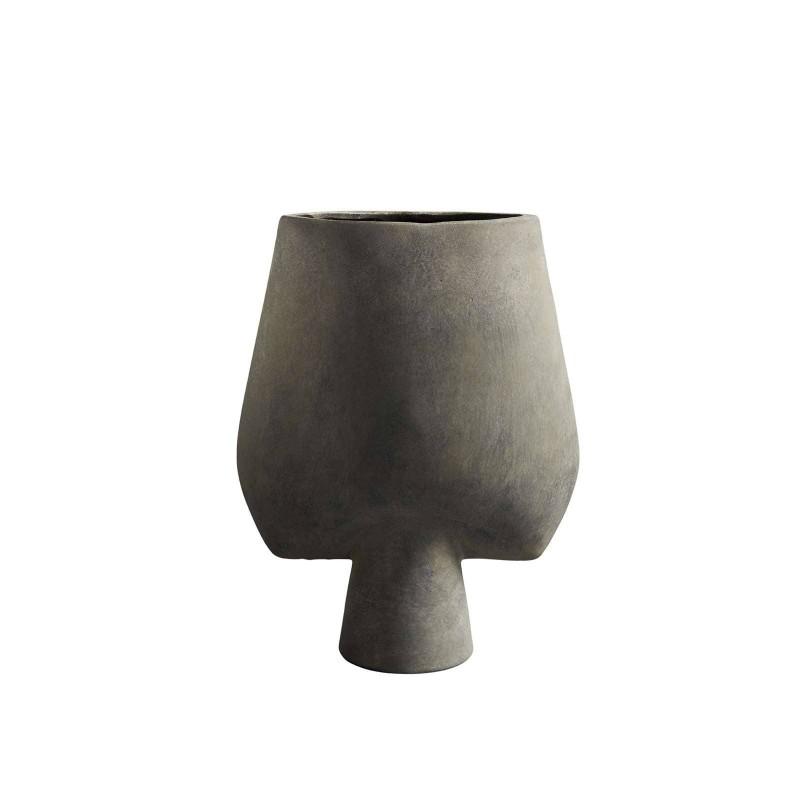 Vase céramique Sphere big square dark grey - c